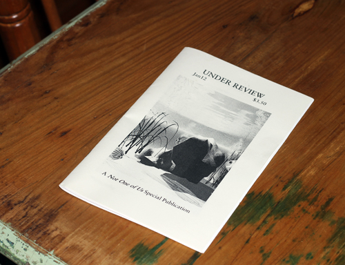 Image of Under Review issue of 'Not One of Us' zine