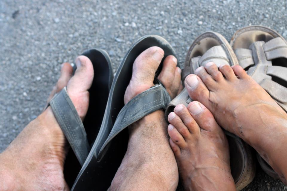 Our feet after 7 hours of wandering through Pompeii