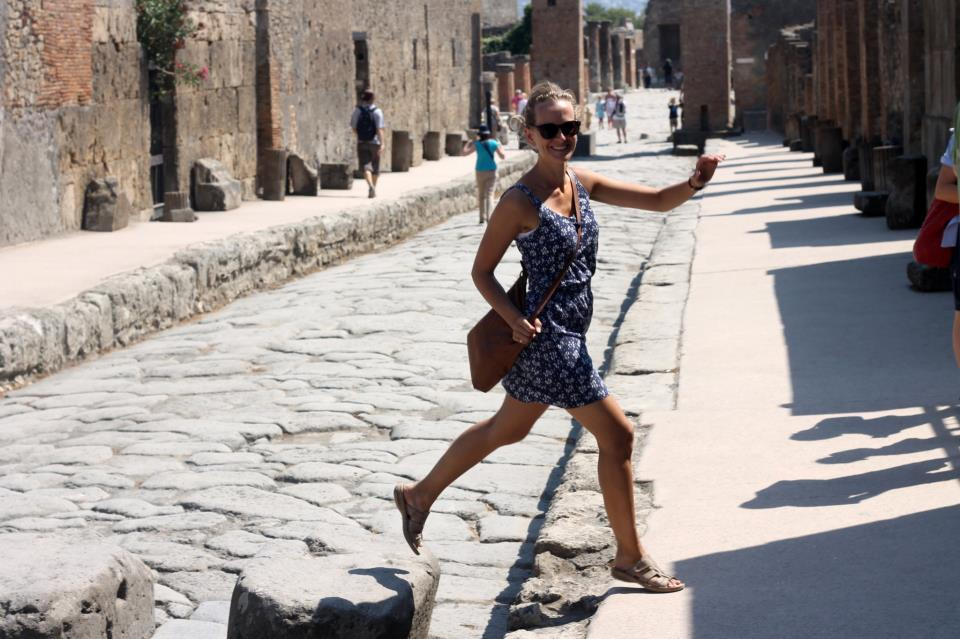 Crossing the road in Pompeii